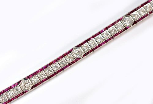 LADIES ART DECO PLATINUM, DIAMOND & RUBY BRACELET