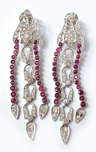 (PR) ANTIQUE PLATINUM, DIAMOND & RUBY EARRINGS