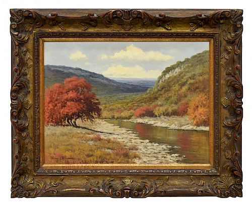 PALMER CHRISMAN(1913-1984)TEXAS FALL ALONG A RIVER