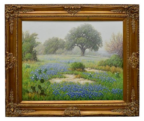 DON WARREN (1935-2006) TEXAS BLUEBONNETS & RAIN