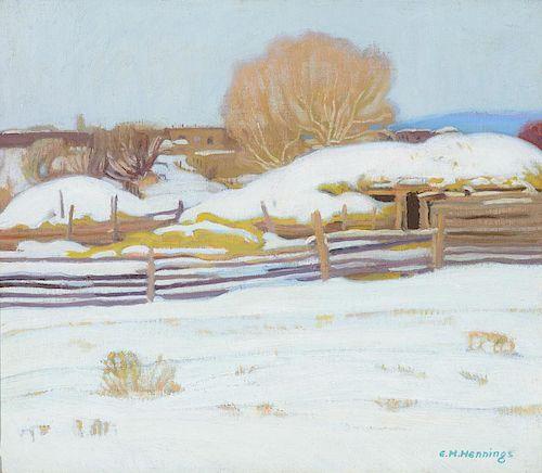 E. MARTIN HENNINGS (1886-1956), Winter in Taos