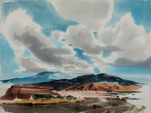 Laurence Philip Sisson   New Mexico Desert Landscape with Clouds
