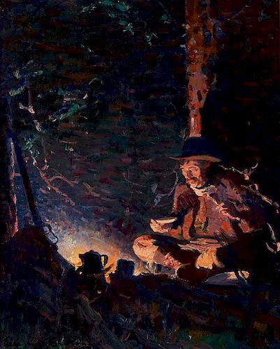 William Herbert Dunton | Evening Meal - The Hunter's Supper