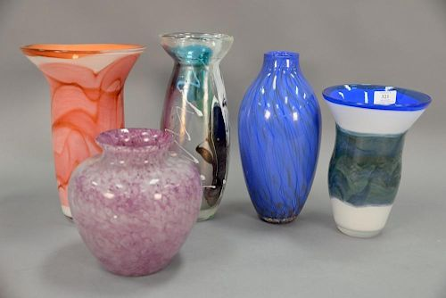 Five Art Glass Vases One With Murano Label Having Colorful Splash