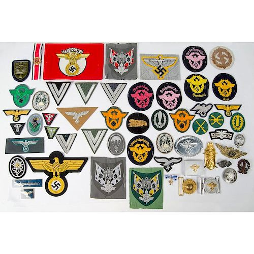 Large Lot of Reproduction WWII Nazi Badges, Patches & Pins by