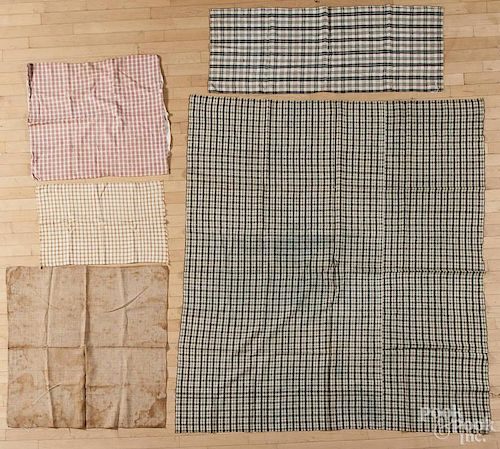 Group of homespun and linen material, 19th/20th c., to include bed covers, pillow covers, etc.