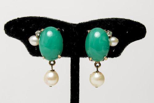 Costume Green Glass & Faux Pearl Earrings