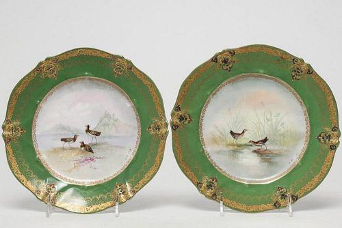 French St. Cloud Porcelain Cabinet Plates, Pair