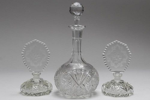 Cut Crystal Decanter & Perfume Bottles, 3 Pieces