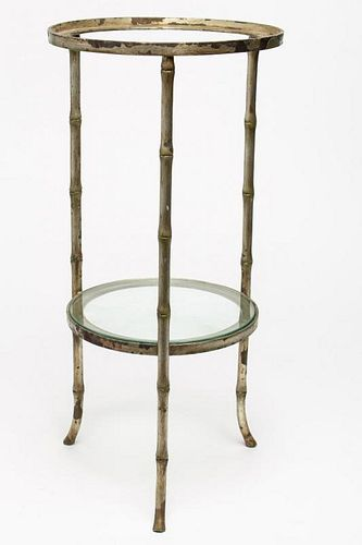 White-Painted Steel Circular Plant Stand