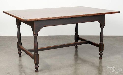 Contemporary tiger maple and painted pine dining table, stamped Benner's Lebanon Ohio, 30'' h., 60''