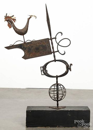 Continental iron rooster weathervane, 20th c., 33'' h.