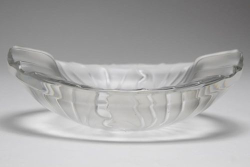 Lalique France Frosted Crystal Oval Bowl