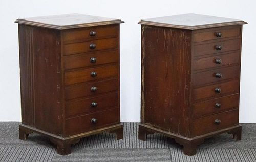 Antique English Spool Cabinets in Oak Wood, Pair