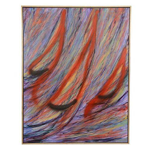 Nautical Acrylic on Canvas, Signed Brennan