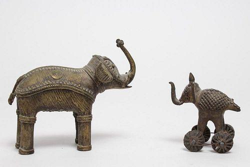 African Brass Elephant Figurines, Burkina Faso