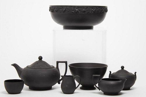 7 Wedgwood Black Basalt Jasperware Items