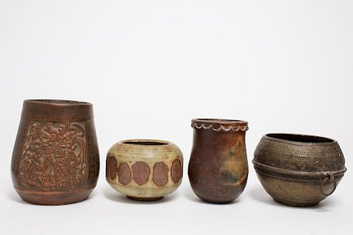 Ethnographic Pottery & Brass Containers, 3 Vintage
