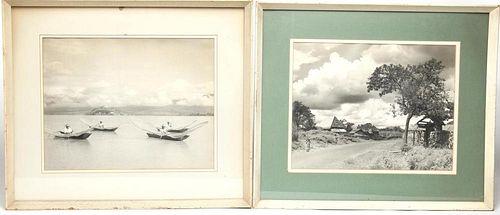 Black & White Vintage Travel Photos, Pair
