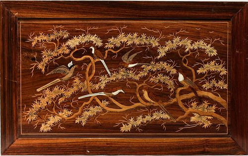 Framed Marquetry Wooden Panel