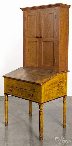 Pennsylvania painted pine work desk, 19th c., with a contemporary painted pine secretary top, 78 1/4