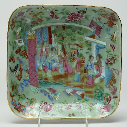 Chinese Famille Rose Porcelain Squared Dish