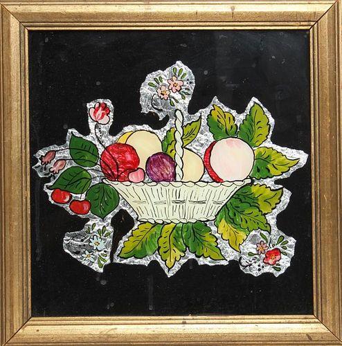 Folk Art Reverse Glass Painting of a Fruit Basket