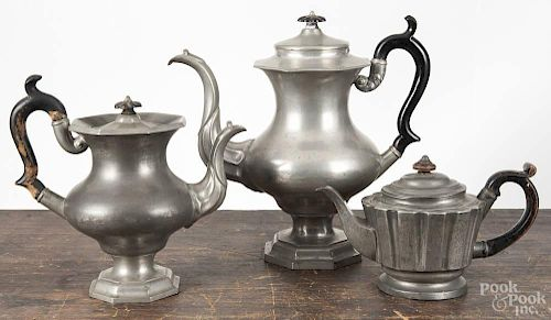Leonard Reed & Barton pewter coffee pot and teapot, late 19th c., 12'' h. and 9 3/4'' h., together wit