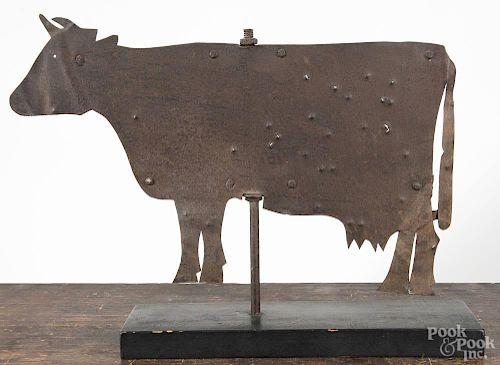 Sheet iron cow weathervane, 19th c., 16 1/2'' h., 23 1/2'' l.