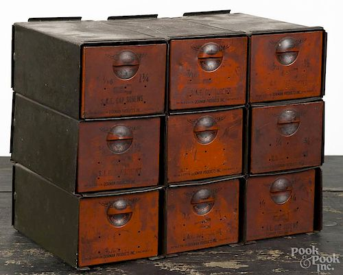 Dorman Products painted tin parts bin, early 20th c., 9'' h., 11 1/4'' w.