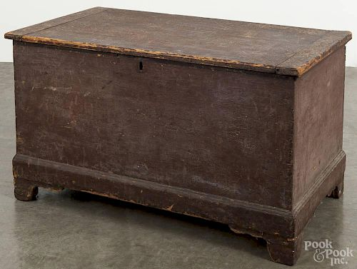 Pennsylvania painted pine blanket chest, 19th c., retaining an old brown surface, 24'' h., 39 1/2'' w.