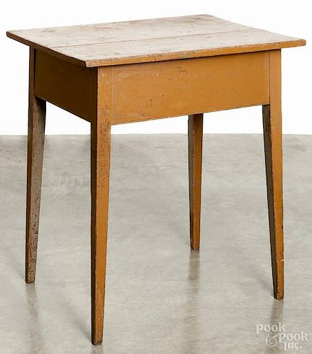 Pennsylvania painted pine splay leg table, 19th c., retaining an old ochre surface, 31'' h., 27'' w.,