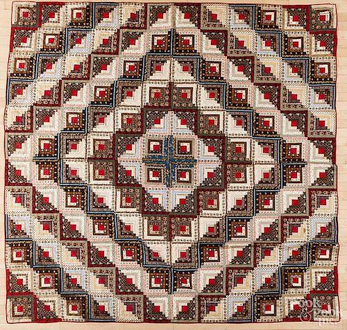 Log cabin patchwork quilt, 19th c., 92'' x 92''.