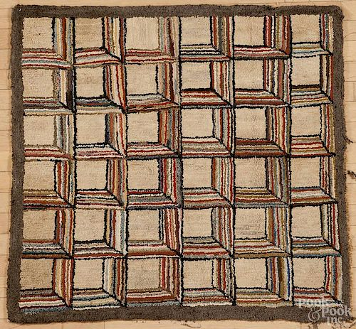 Hooked rug of repeating blocks, early 20th c., 39'' x 41''.