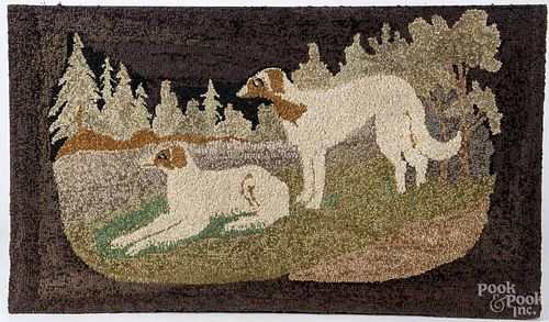Contemporary hooked rug of greyhounds, 23'' x 40''.