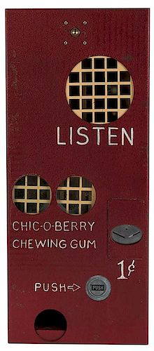 Chick-O-Berry 1 Cent Chewing Gum Machine with Unauthorized Mickey Mouse.