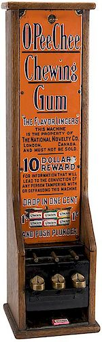 National Novelty Co. 1 Cent O-Pee-Chee Three Column Tall Case Chewing Gum Vendor.