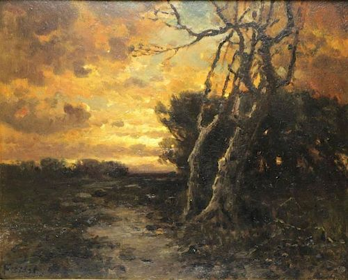 Signed Late 19th C. Oil on Board. Landscape at