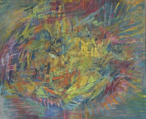 SHULMAN, Morris. Abstract Encaustic on Canvas.