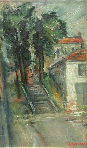ZUCKER, Jacques. Oil on Canvas. House and Trees.