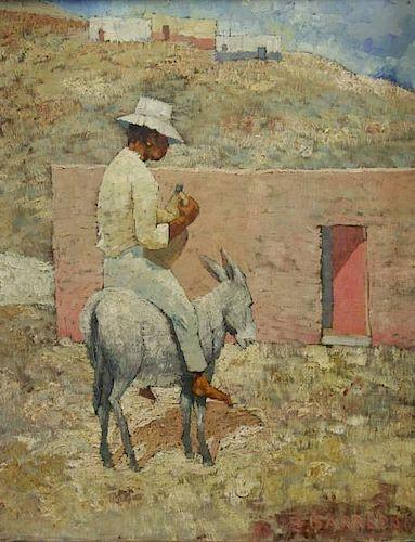 "BARREDA, Ernesto. Oil on Canvas. ""Boy on Burro."""