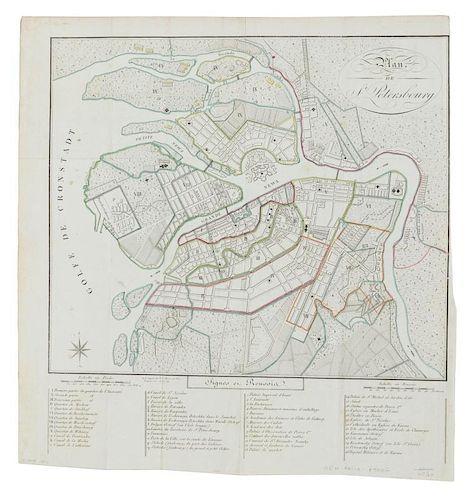 [RUSSIA] Plan de St. Petersbourg. [Paris?, ca 1810?].