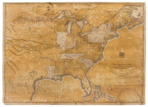 LEWIS, Samuel. The Traveller's Guide A New and Correct Map of the United States... Philadelphia, 1819.