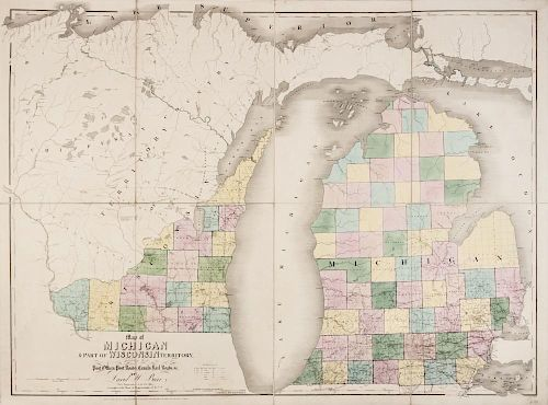 BURR, David H. Map of Michigan & Part of Wisconsin exhibiting the Post Offices, Post Roads, Canals, Railroads &c. London, 183