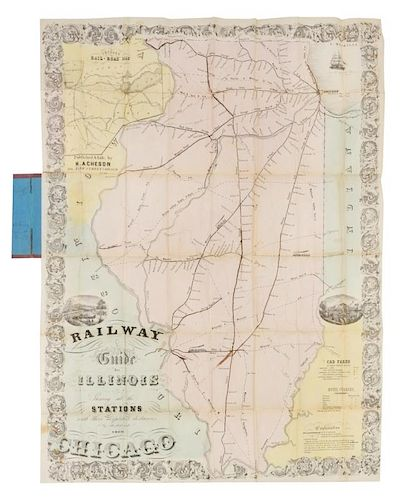 Shortest Route Between Chicago And >> Acheson H Railway Guide Map For Illinois Showing All The Stations