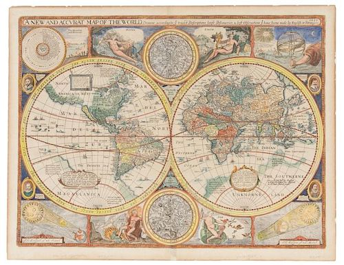 SPEED, John. A New and Accurat [sic] Map of the World. [London,] 1651 [but 1676].