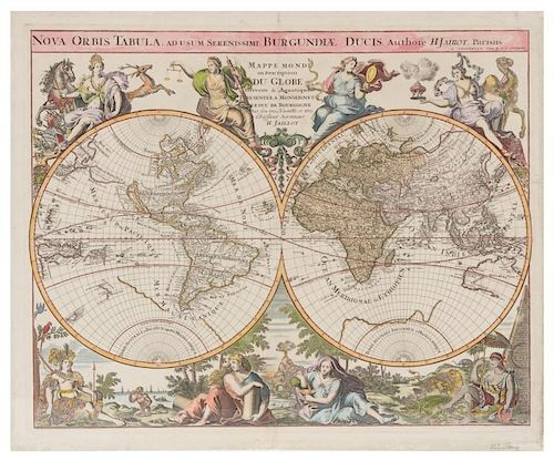 [WORLD] JAILLOT / OTTENS. Nova Orbis Tabula. Amsterdam [ca 1730 or later].