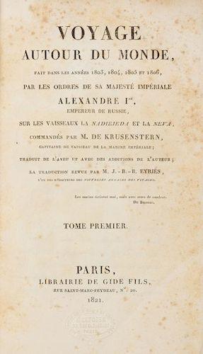 KRUSENSTERN, Johann von (1770-1846) Voyage autour du monde, fait dans les annees 1803, 1804, 1805 et 1806... Paris, 1821. 2 v