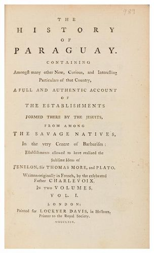 CHARLEVOIX, Pierre Francois Xavier de. History of Paraguay... London, 1769. 2 volumes. FIRST EDITION in English.