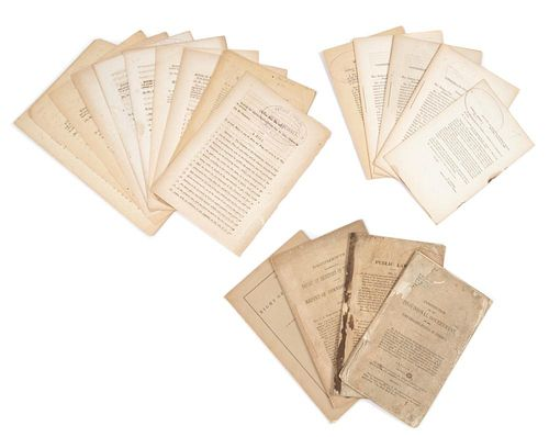 [CONFEDERACY] Group of 32 pamphlets on the Confederacy, with a slavery document. Together, 33 sheets.